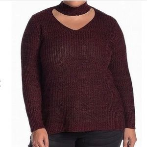 Planet Gold Burgundy V-Neck Sweater with Choker